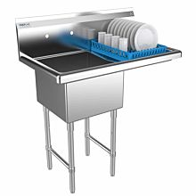 """Prepline 31"""" One Compartment Stainless Steel Sink, with Right Drainboard, 18"""" x 18"""" Bowls"""