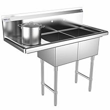 "Prepline 43"" Two Compartment Stainless Steel Sink, with Left Drainboard, 14"" x 16"" Bowls"