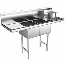 "Prepline 52"" Two Compartment Stainless Steel Sink, with Right and Left Drainboard, 14"" x 16"" Bowls"