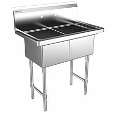 "Prepline 34"" Two Compartment Stainless Steel Sink, without Drainboard, 14"" x 16"" Bowls"