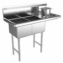 "Prepline 43"" Two Compartment Stainless Steel Sink, with Right Drainboard, 14"" x 16"" Bowls"