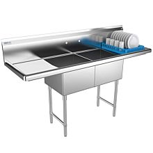 "Prepline 72"" Two Compartment Stainless Steel Sink, with Right and Left Drainboard, 18"" x 18"" Bowls"