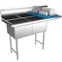 "Prepline 57"" Two Compartment Stainless Steel Sink, with Right Drainboard, 18"" x 18"" Bowls"