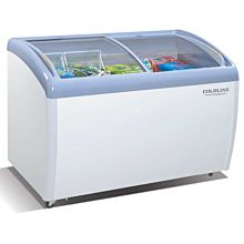 "Coldline XS326A 49"" Curved Sliding Glass Top Lid Display Freezer - 9 Cu. Ft."