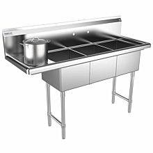 "Prepline 57"" Three Compartment Stainless Steel Sink, with Left Drainboard, 14"" x 16"" Bowls"