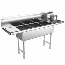 "Prepline 66"" Three Compartment Stainless Steel Sink, with Right and Left Drainboard, 14"" x 16"" Bowls"