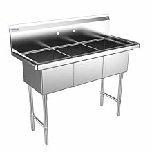 "Prepline 48"" Three Compartment Stainless Steel, Sink without Drainboard, 14"" x 16"" Bowls"