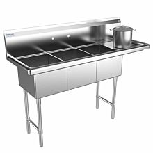 "Prepline 57"" Three Compartment Stainless Steel Sink, with Right Drainboard , 14"" x 16"" Bowls"