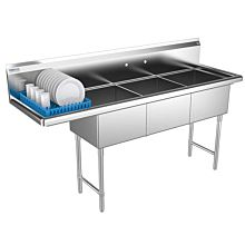 3 compartment commercial sink left drainboard