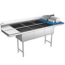 3 compartment commercial sink 2 drainboards