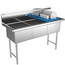 "Prepline 60"" Three Compartment Stainless Steel Commercial, without Drainboard, 18"" x 18"" Bowls"