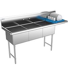 3 compartment commercial sink right drainboard