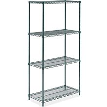 """Prepline ZWS-KIT-1836 18""""D x 36""""L Epoxy Green Wire Shelving Kit, 4-Shelf"""