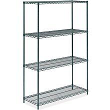 """Prepline ZWS-KIT-1848 18""""D x 48""""L Epoxy Green Wire Shelving Kit, 4-Shelf"""