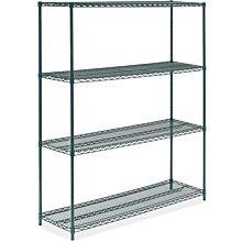 """Prepline ZWS-KIT-1860 18""""D x 60""""L Epoxy Green Wire Shelving Kit, 4-Shelf"""