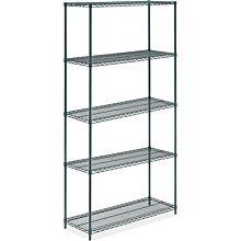 """Prepline ZWS-KIT-1848 18""""D x 48""""L Epoxy Green Wire Shelving Kit, 5-Shelf"""