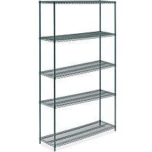 "KZG-KIT5-1854 18""D X 54""L Epoxy Green Wire Shelving Kit, 5-Shelf"