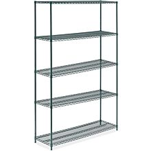 "Prepline ZWS-KIT-1860 18""D x 60""L Epoxy Green Wire Shelving Kit, 5-Shelf"