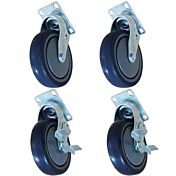 """4"""" Flat Plate Caster with Side Brake, Set of 4"""