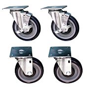 """Standard Range SR-4-SB 4"""" Cooking Equipment Square Plate Casters for Gas Ranges (Set of 4, 2 with Brake)"""