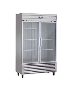 "54"" Double Glass Door Reach-In Refrigerator, Stainless Steel - 38  Cu. Ft."