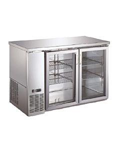 "Coldline UBB-24-48GSS-HC 48"" Stainless Steel Counter Height Narrow Glass Door Back Bar Refrigerator"