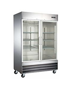 "54"" Double Glass Door Reach-In Refrigerator - 47 Cu. Ft."