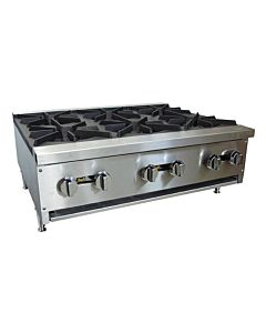 "Cookline CHP-36-6 36"" Gas Six Burner Commercial Countertop Hot Plate, 150,000 BTU"