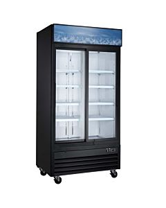 "Coldline G40S-B 40"" Double Glass Sliding Door Merchandiser Refrigerator, Black"