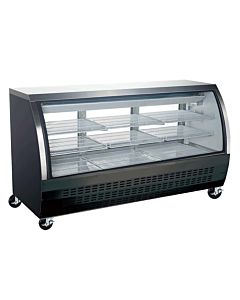 "Coldline DC80-B 80"" Refrigerated Curved Glass Deli Meat Display Case, Black"