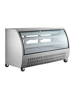 "Coldline DC80-SS 80"" Refrigerated Curved Glass Deli Meat Display Case, Stainless Steel"