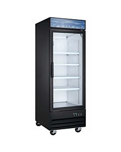 28″ Single Glass Swing Door Merchandiser Refrigerator - Black