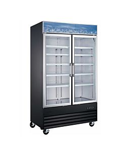 48″ Double Glass Swing Door Merchandiser Refrigerator - Black