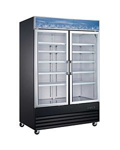 "53"" Double Glass Swing Door Merchandiser Freezer - Black"