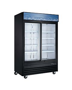 "53"" Double Glass Sliding Door Merchandiser Refrigerator - Black"