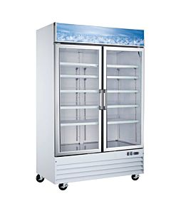 "53"" Double Glass Swing Door Merchandiser Freezer - White"