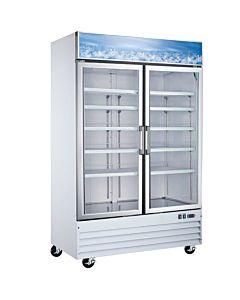 """53"""" Double Glass Swing Door Merchandiser Refrigerator - White"""