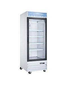 28″ Single Glass Swing Door Merchandiser Refrigerator - White