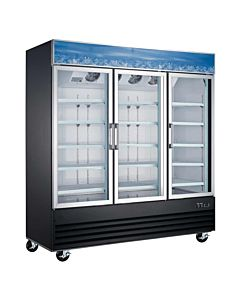 "78"" Triple Glass Swing Door Merchandiser Refrigerator - Black"