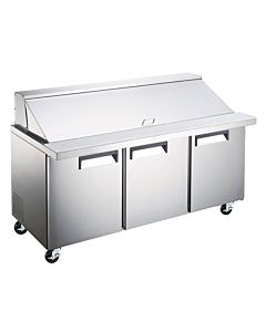"71"" Mega Top Bain Marie Sandwich Prep Refrigerator - 30 Pans"