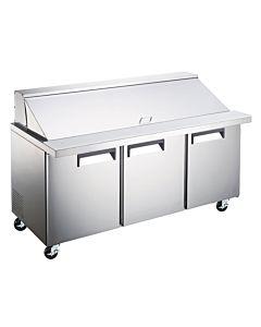 "Coldline S-SMP72 72"" Mega Top Bain Marie Sandwich Prep Refrigerator with Pan Liner - 30 Pan"