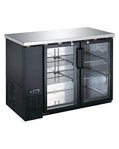 Coldline UBB-24-48G-HC 48″ Black Counter Height Narrow Glass Door Back Bar Refrigerator
