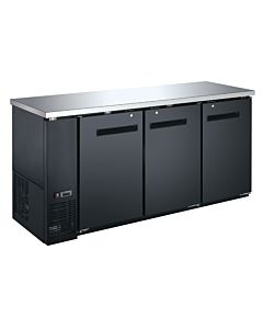 Coldline UBB-24-72F-HC 72″ Black Counter Height Narrow Solid Door Back Bar Refrigerator