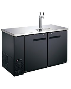 Coldline UDD-24-48-HC 48″ Black 2 Tap Refrigerated Direct Draw Beer Dispenser