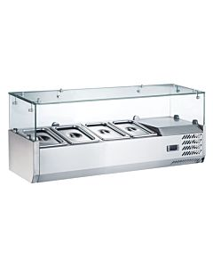 """Coldline VRX1200 48"""" Refrigerated Countertop Salad Bar, Glass Topping Rail, 4 Pans"""