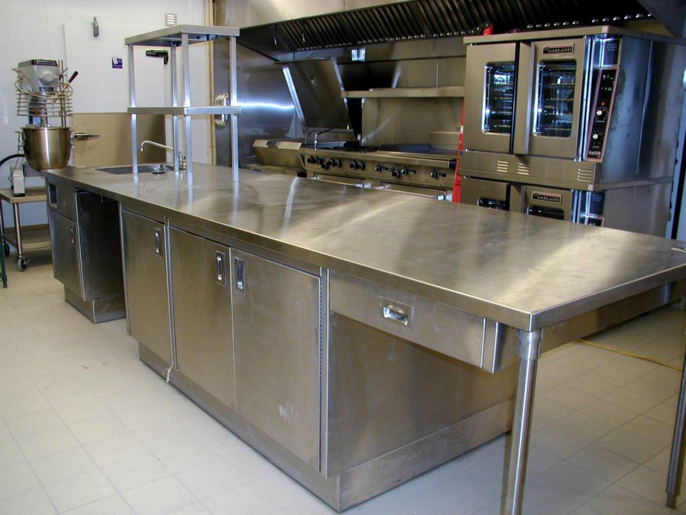 Food prep equipment in commercial kitchen shown here.